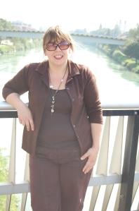 Rachel on the bridge at Villach